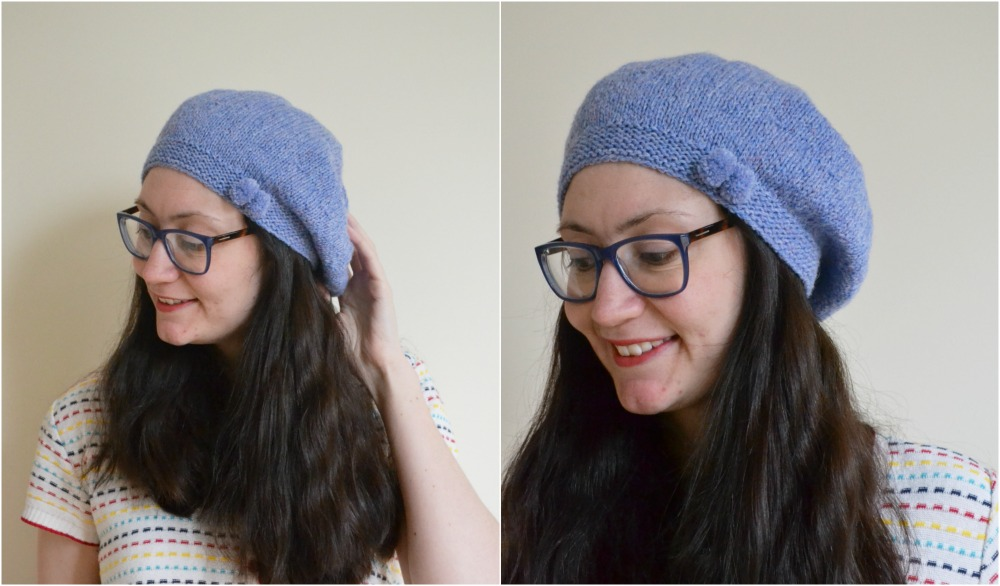 knitted beret with a bow helen woodward pattern hat ravelry new lanark yarn wool DK sky pompoms