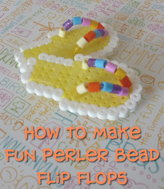 Tutorial on how to make some cute summer Perler bead flip flop mini embellishments
