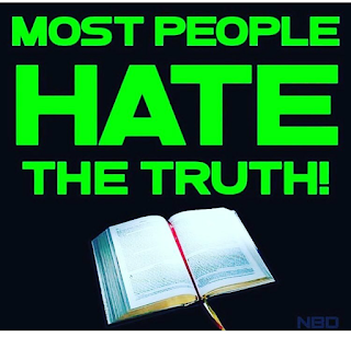 "Open Bible under the words ""Most People Hate the Truth"""