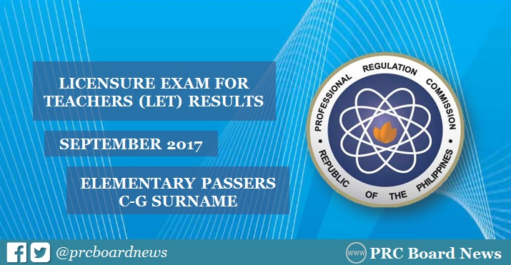 C-G Passers Elementary: September 2017 LET Results