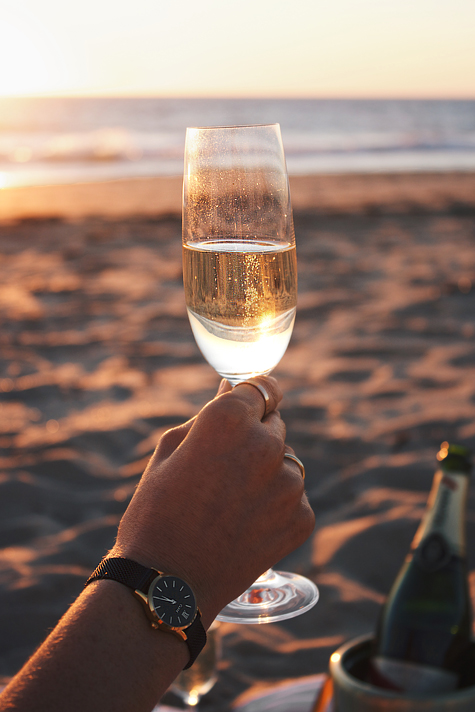 Perth sunset, beach picnic, G.H. Mumm champagne, Cluse La Vedette watch