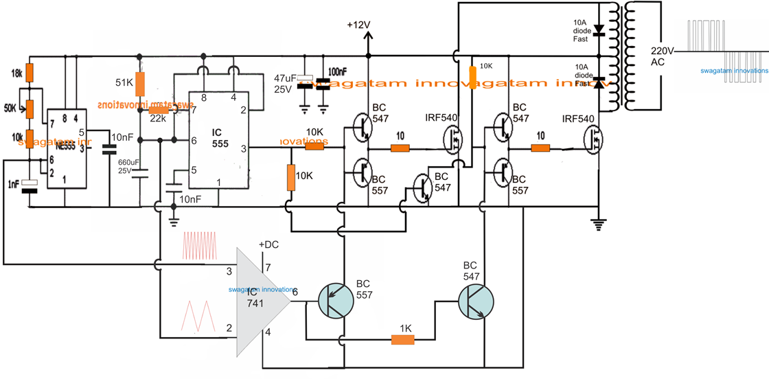triangle waveform generator circuit with 555