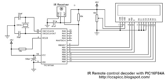 Extended NEC protocol infrared IR remote control decoder with PIC16F84A microcontroller circuit CCS PIC C