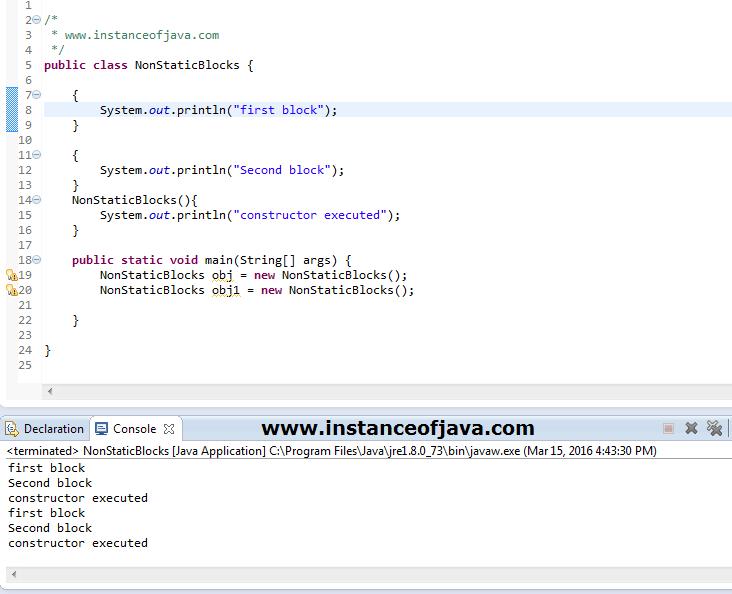 non static blocks in java example program