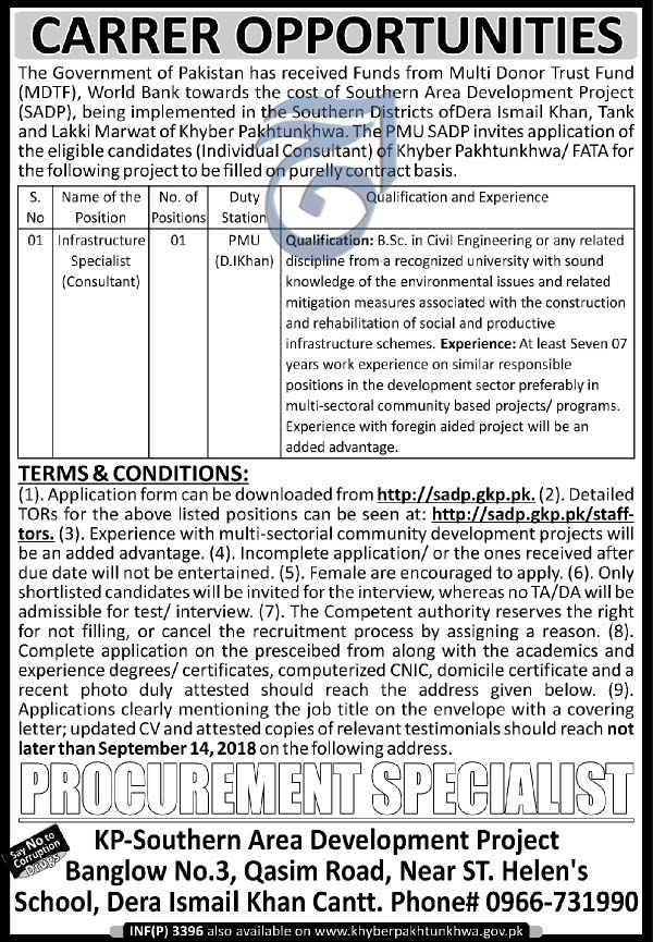 Latest  Govt Jobs in KPK, Southern Area Development Project