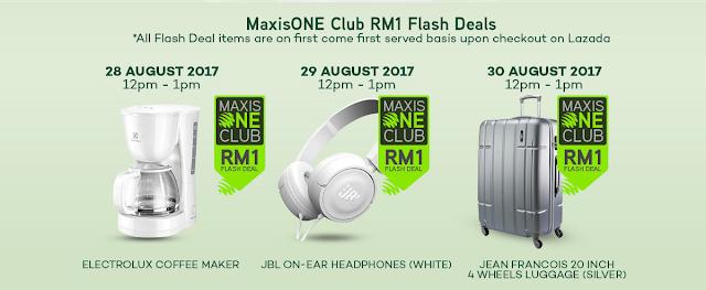 Lazada RM1 Maxis One Club Flash Deals