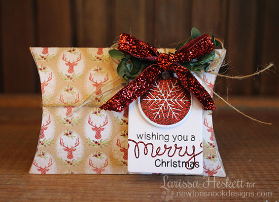 Merry Christmas pillow box by Larissa Heskett | Jolly Tags stamp set by Newton's Nook Designs #newtonsnook