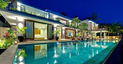 contoh desain exterior rumah dari belakang dengan kolam