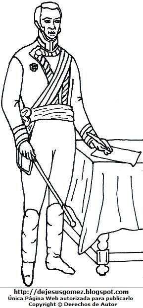 Virrey José de la Serna de cuerpo entero para colorear, pintar e imprimir. Dibujo del Virrey de la Serna de Jesus Gómez