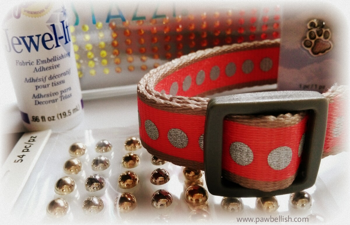 Orange dog collar and supplies to create your own decorated dog collar
