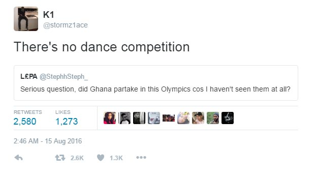 Is Ghana participating at 2016 Olympics? See reply lady got