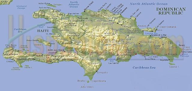 Carte Hispaniola : Haiti et  République Dominicaine