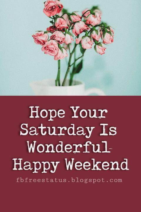 Happy Weekend Quotes, Hope Your Saturday is Wonderful Happy Weekend.