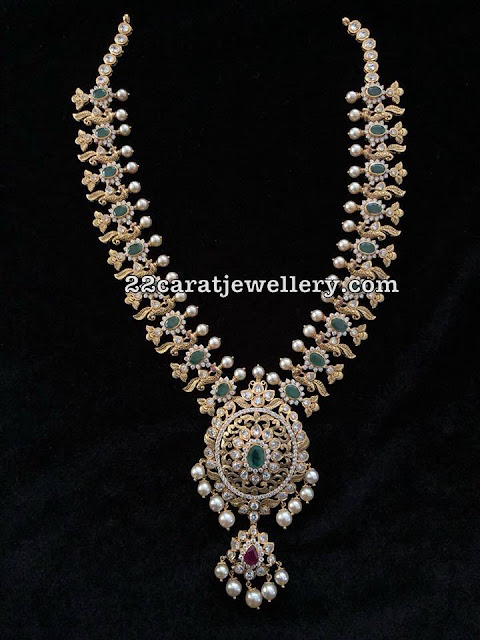 Emerald Peacock Set by Radhika Jewelers