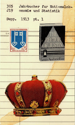 mont-de-marsan France twin keys coat of arms crown the rector of justin book library due date card Dada Fluxus mail art collage