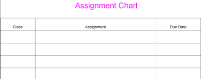 assignment chart, free, printable