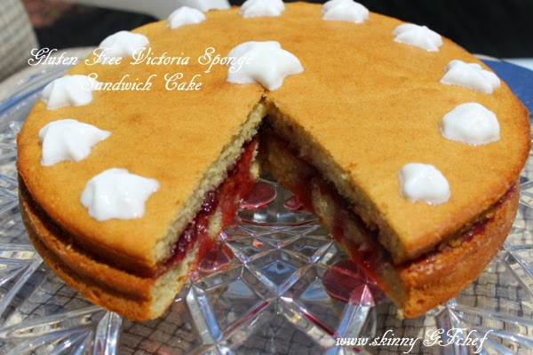 Gluten Free Victoria Sponge Sandwich Cake, refined sugar free