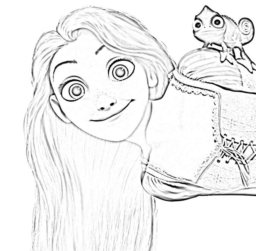 Disney tangled rapunzel coloring pages kids online world for Tangled coloring pages