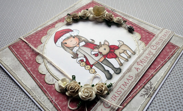 Shabby chic / Nordic style Christmas card with Paper Nest Dolls image