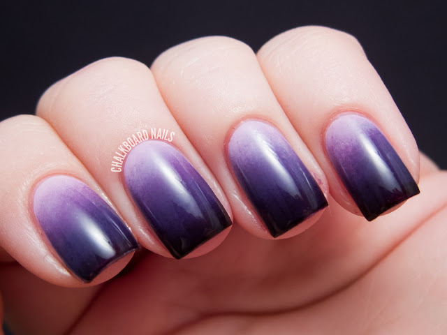Chalkboard Nails China Glaze Grape Expectations ombre set