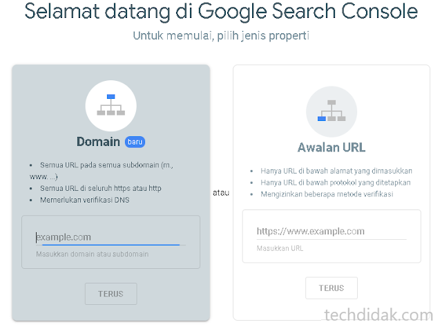 jenis property google webmasters