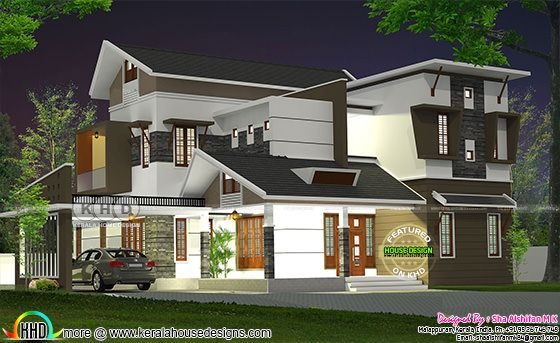 2616 square feet 4 bedroom modern Kerala home