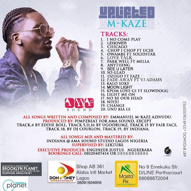 """Track list from the new Album """"Uplifted"""" by M-Kaze"""