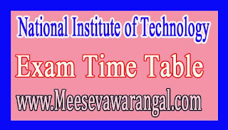 National Institute of Technology, Jharkhand MCA & M.Sc IIIrd Sem 2016-17 Exam Time Table