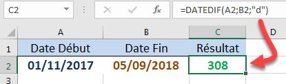 Calculer le nombre de jours DATEDIF