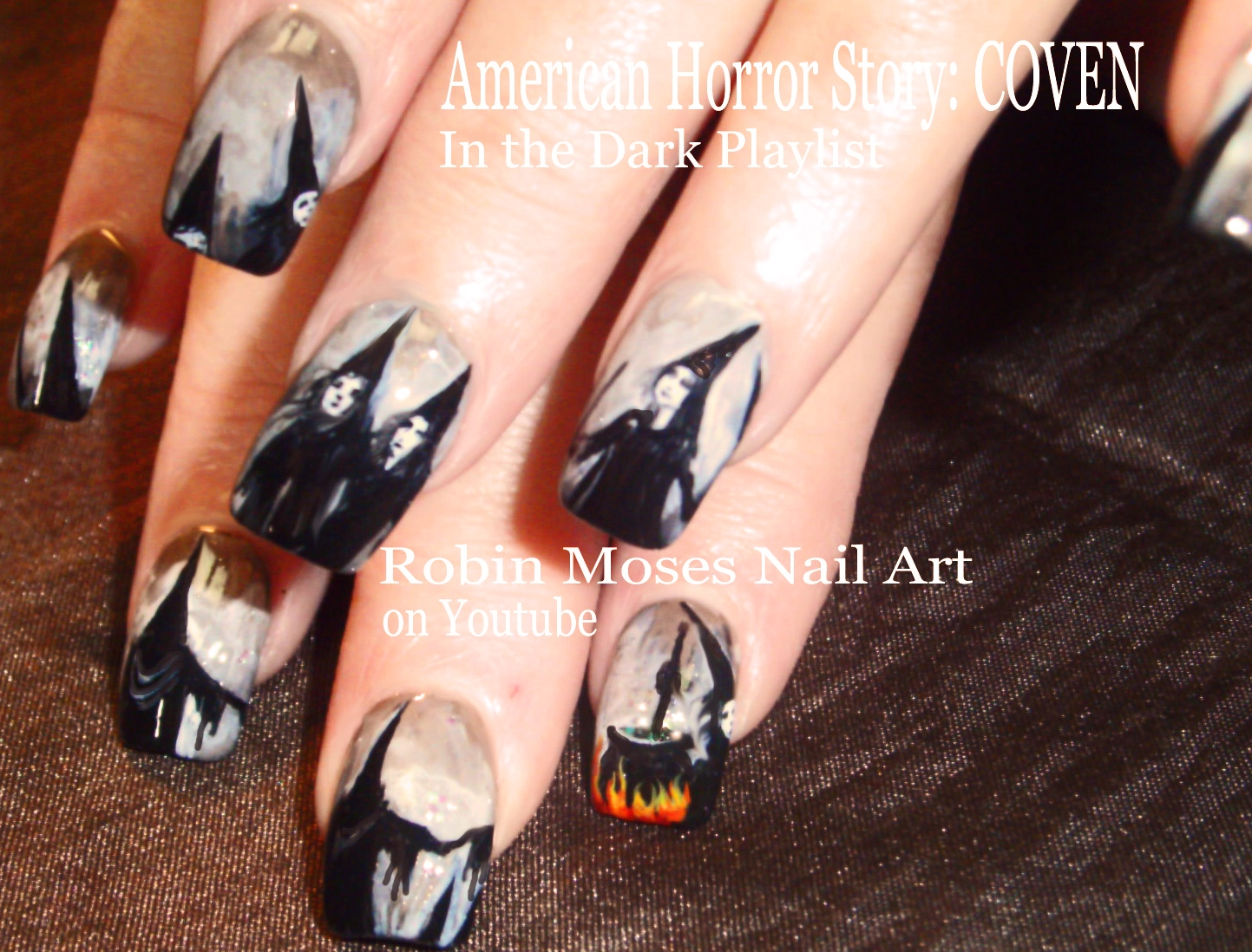 Nail Art By Robin Moses How To Paint A Witches Face On Nails