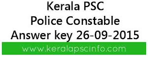 Download Kerala PSC Police constable answer key 26/09/2015