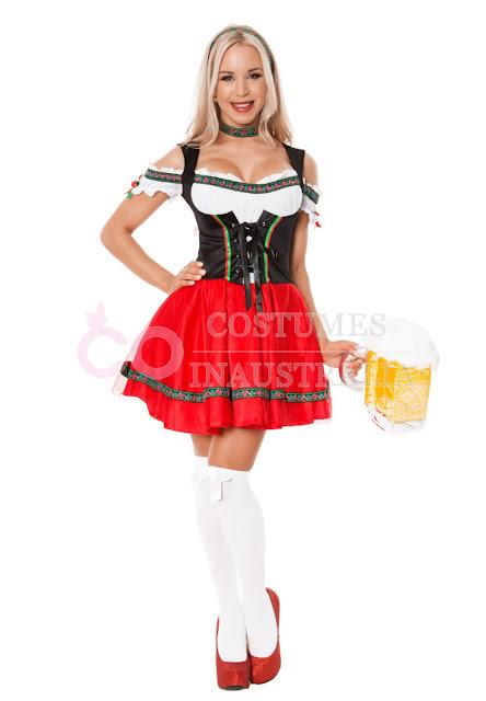 Ladies Red Beer Maid Oktoberfest Costume Wench German Heidi Gretchen Fancy Dress