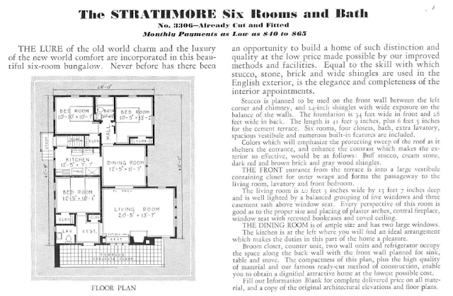 information and floor plan for Sears Strathmore in the 1932 Sears Modern Homes catalog