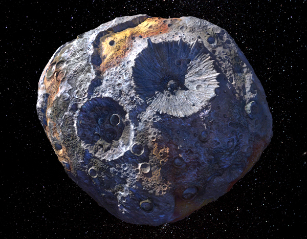 An artist's concept of asteroid Psyche.