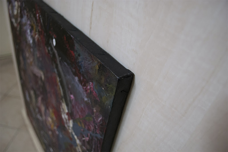 Close Up of the Black Canvas Edge of artist Kostas Gogas' 'Dark Abstract' Painting