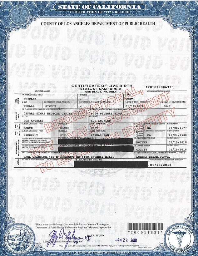 Chicago West's Birth Certificate full