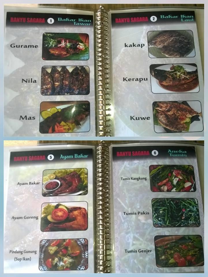 Daftar menu makan di Rumah Makan Banyusagara Green canyon