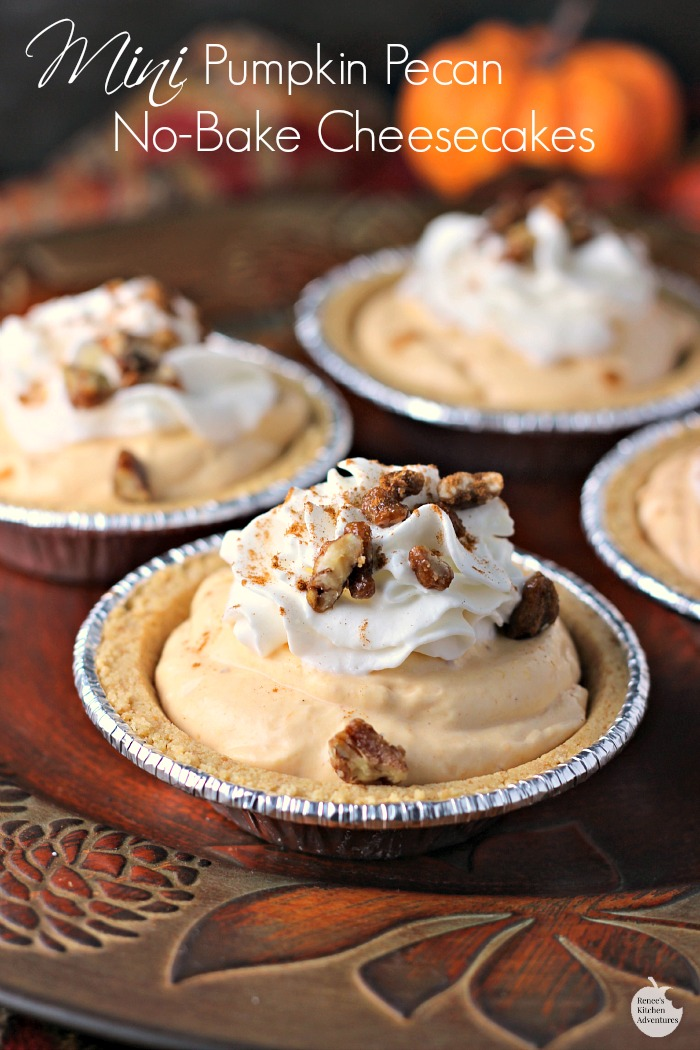 Mini Pumpkin Pecan No-Bake Cheesecakes | by Renee's Kitchen Adventures - easy dessert recipe for little pumpkin cheesecakes  #EffortlessPies ad