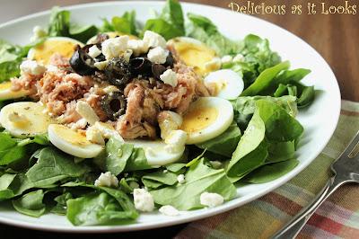 Greek Tuna Spinach Salad