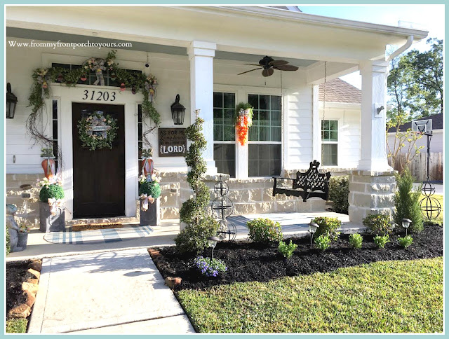 Spring Easter Front Porch-Porch Swing-Boxwood-Topiary-Curb Appeal-From My Front Porch To Yours