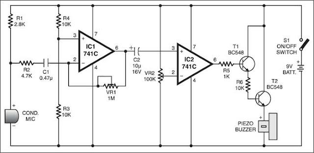 دائرة ماسح وكاشف الاهتزازات والموجات الصوتية باستخدام Op-amp