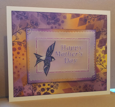 Mothers Day card with parchment house martin and purple and yellow background