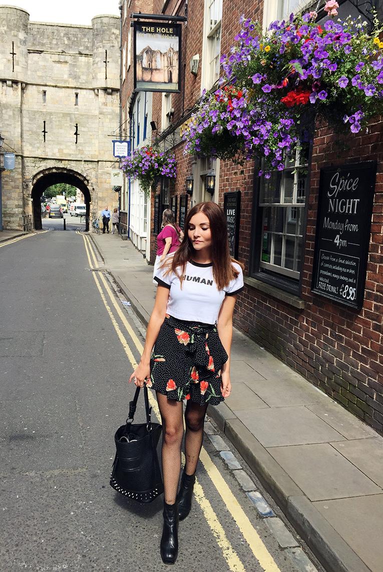 UK fashion blogger floral wrap skirt slogan tee