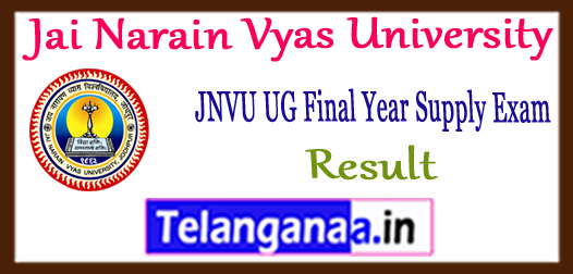JNVU Jai Narain Vyas University Annual Supplementary Final Year Result 2017