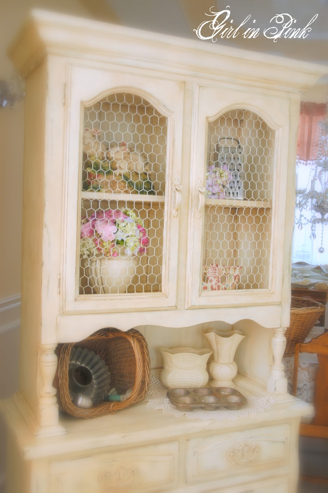 Girl In Pink French Country Cottage Cupboard