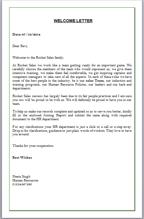 welcome letter format
