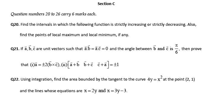 CBSE  Sample paper Mathematics 12