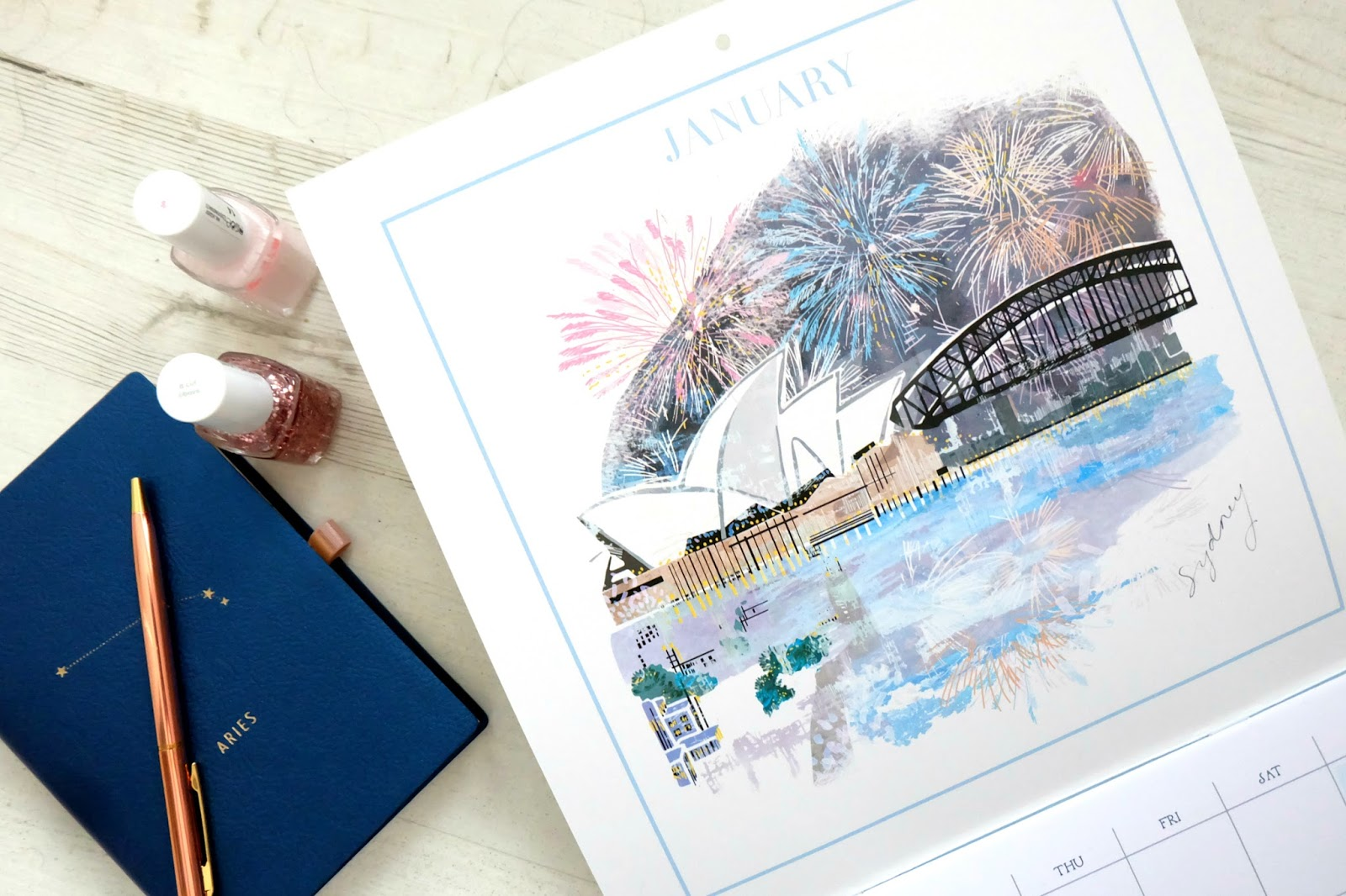january goals, lifestyle blog, marks and spencer city calendar, anthropology horoscope notebook