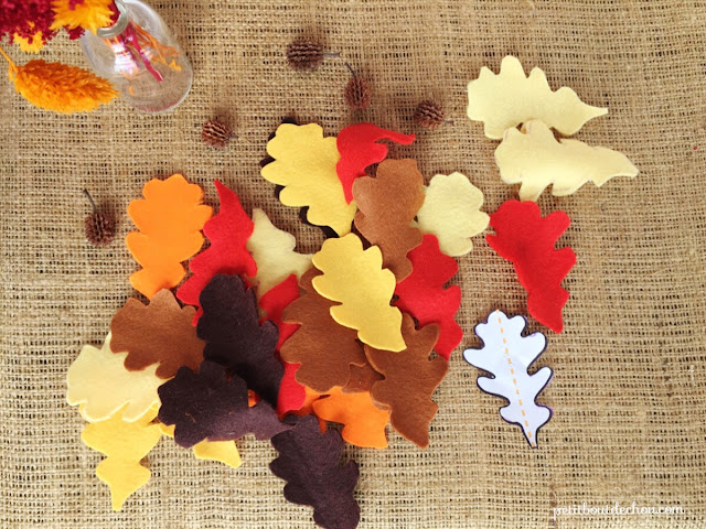 your coloured felt leaves are cut