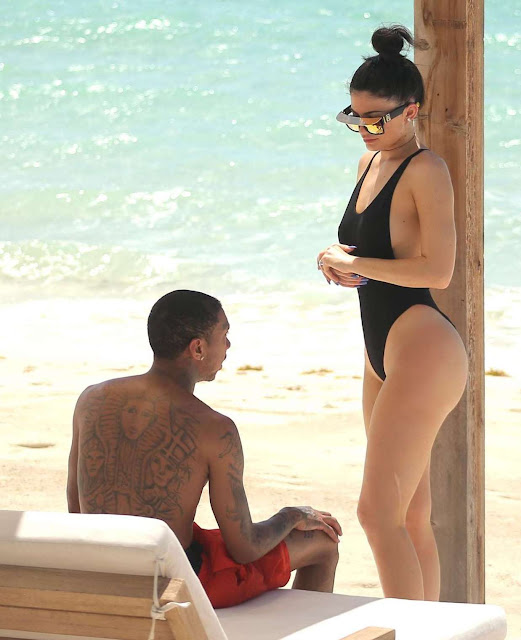 Kylie Jenner in Black Swimsuit in Turks and Caicos